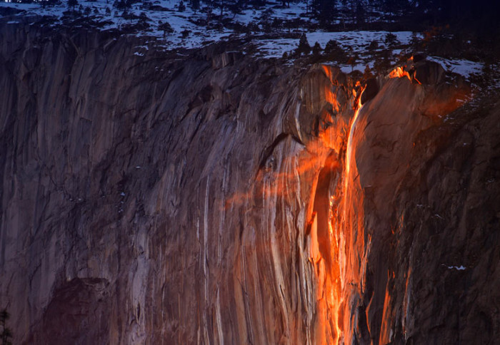 Glowing Horsetail Fall in Yosemite National Park