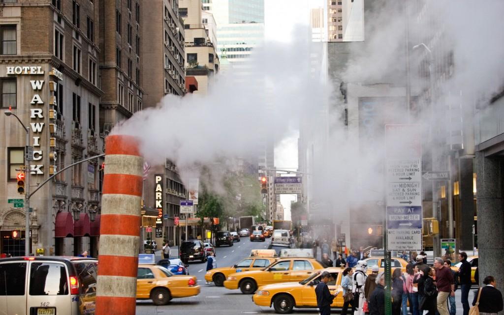 Vapor vents in the street. New York City 2005