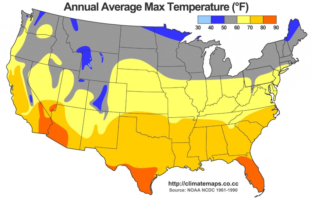 6-CARTE TEMPERATURESAverage_Annual_High_Temperature_of_the_United_States